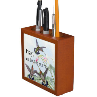 Hummingbird Birds Flowers Prayer Desk Organizer