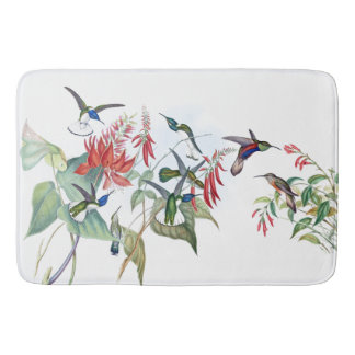 Hummingbird Birds Flowers Wildlife Bath Mat