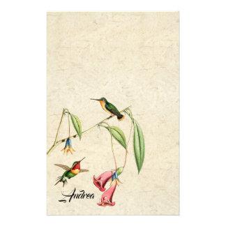 Hummingbird Birds Flowers Wildlife Stationery