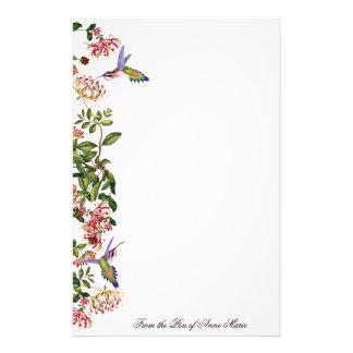 Hummingbird Birds Honeysuckle Flowers Floral Stationery