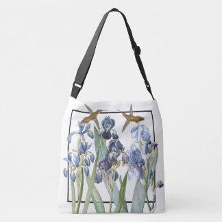 Hummingbird Birds Iris Flowers Shoulder Tote Bag