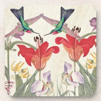 Hummingbird Birds Lily Flower Garden Coaster