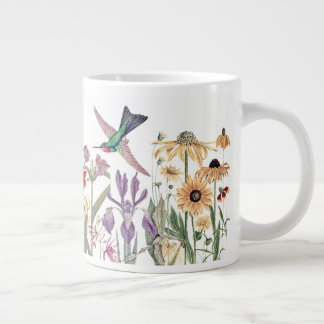 Hummingbird Birds Lily Iris Coneflower Flowers Mug