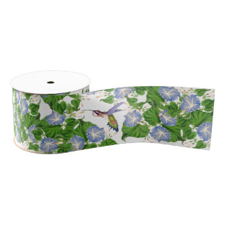Hummingbird Birds Morning Glory Floral Flowers Grosgrain Ribbon
