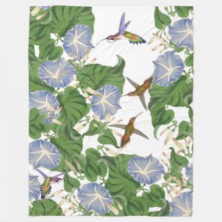 Hummingbird Birds & Morning Glory Flowers Floral Fleece Blanket