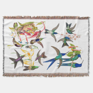 Hummingbird Birds Nest Flowers Throw Blanket