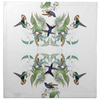 Hummingbird Birds Orchid Flowers Napkins