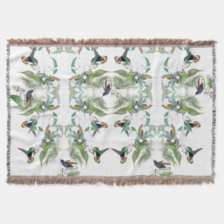 Hummingbird Birds Orchid Flowers Throw Blanket