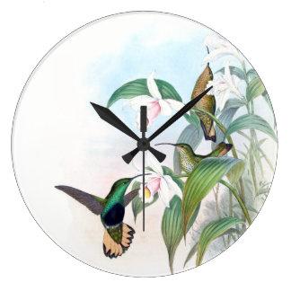 Hummingbird Birds Orchid Flowers Wall Clock