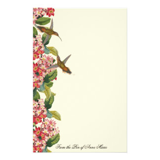 Hummingbird Birds Plumeria Flowers Floral Stationery Paper