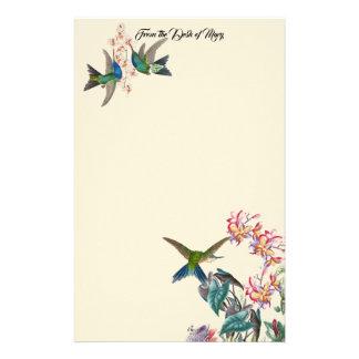 Hummingbird Birds Plumeria Flowers Stationery