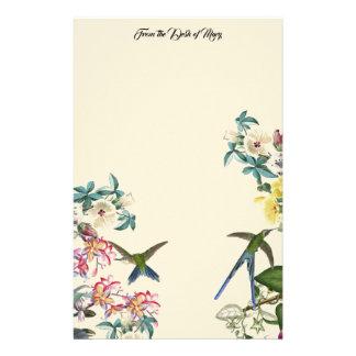 Hummingbird Birds Tropical Flowers Stationery