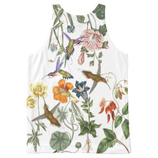 Hummingbird Birds Wildlife Animal Flower Floral All-Over Print Singlet