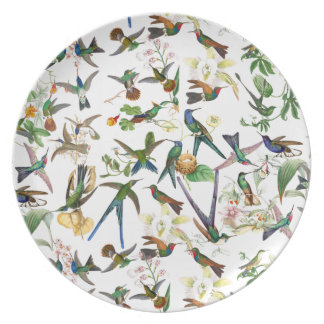 Hummingbird Birds Wildlife Animal Flowers Plate