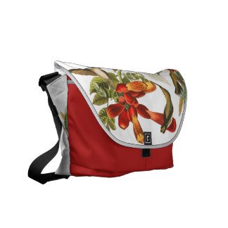 Hummingbird Birds Wildlife Floral Messenger Bag