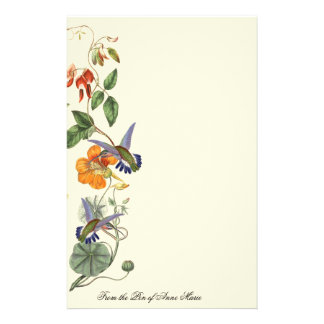 Hummingbird Birds Wildlife Flowers Floral Personalised Stationery
