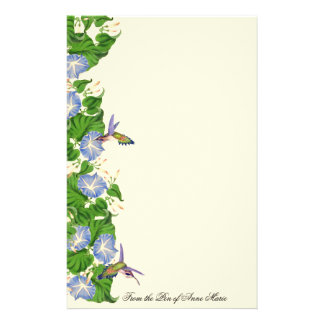 Hummingbird Birds Wildlife Flowers Floral Stationery Paper