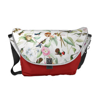 Hummingbird Birds Wildlife Flowers Messenger Bag