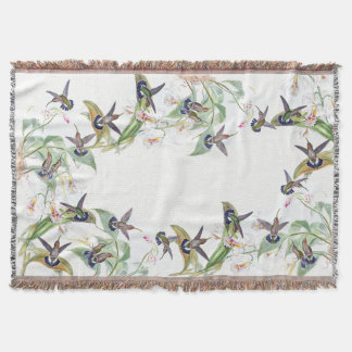 Hummingbird Birds Wildlife Flowers Throw Blanket