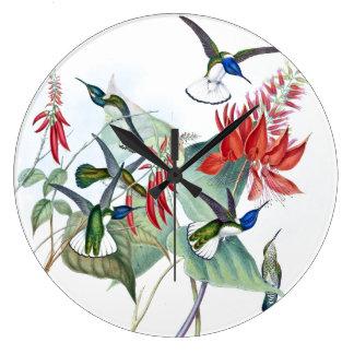 Hummingbird Birds Wildlife Flowers Wall Clock