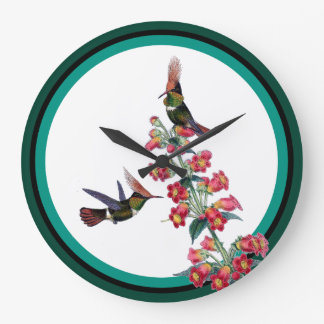 Hummingbird Birds Wildlife Red Flowers Wall Clock