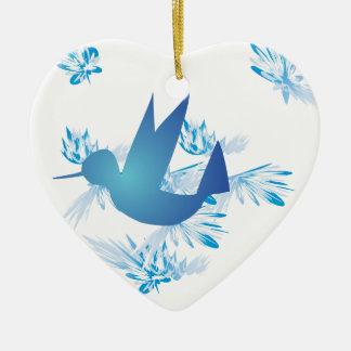 Hummingbird Blue Ceramic Heart Decoration