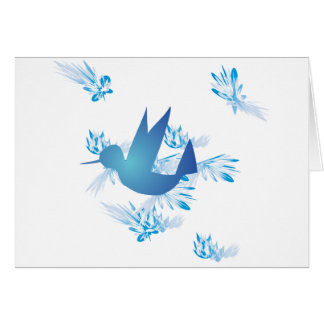 Hummingbird Blue Greeting Card