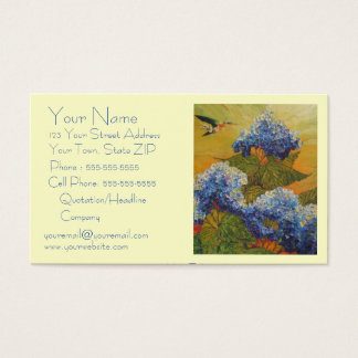 Hummingbird & Blue Hydrangea Business Card