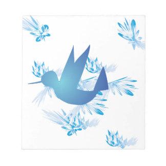 Hummingbird Blue Memo Pads
