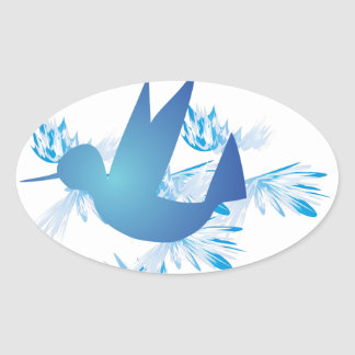 Hummingbird Blue Oval Sticker