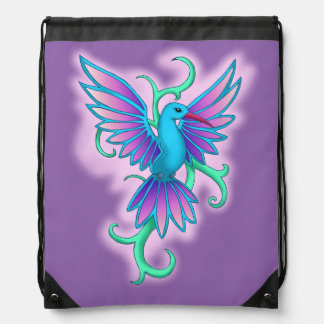 Hummingbird blue pink drawstring bag