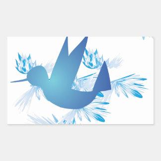 Hummingbird Blue Rectangular Sticker