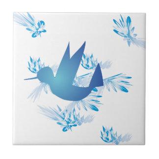 Hummingbird Blue Small Square Tile
