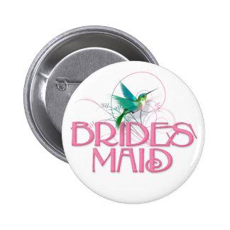 Hummingbird Bridesmaid 6 Cm Round Badge