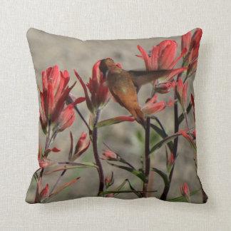 hummingbird cardinal flw. throw pillow