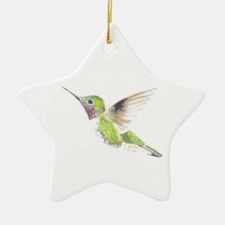 Hummingbird Ceramic Star Decoration