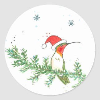 Hummingbird Christmas Classic Round Sticker