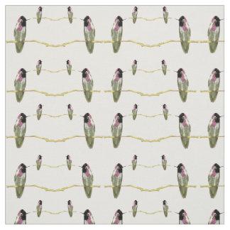 Hummingbird Cotton Fabric- Crafts-White/Green/Pink Fabric