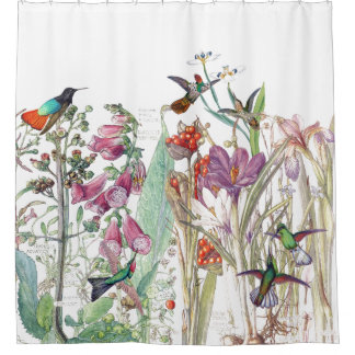 Hummingbird Crocus Foxglove Flowers Shower Curtain