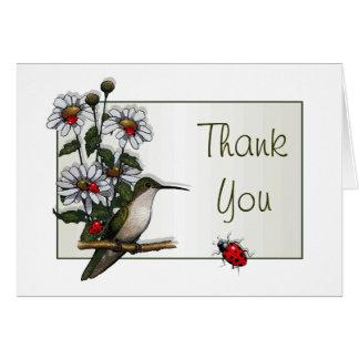 Hummingbird, Daisies, Ladybugs: Thank You Greeting Card