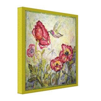 Hummingbird-Dragonfly Watercolor Print 8x8 Canvas