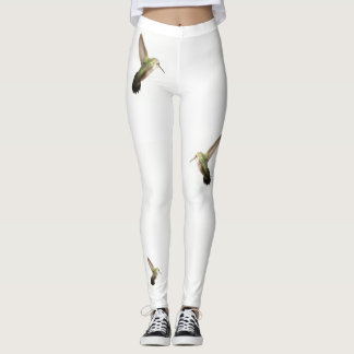 Hummingbird  Fashion Leggings-Women-White Leggings