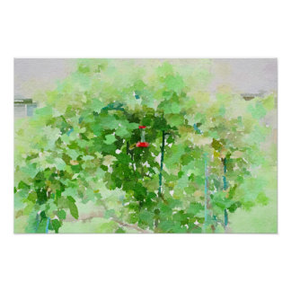 Hummingbird feeder Watercolor Abstract Painting Poster