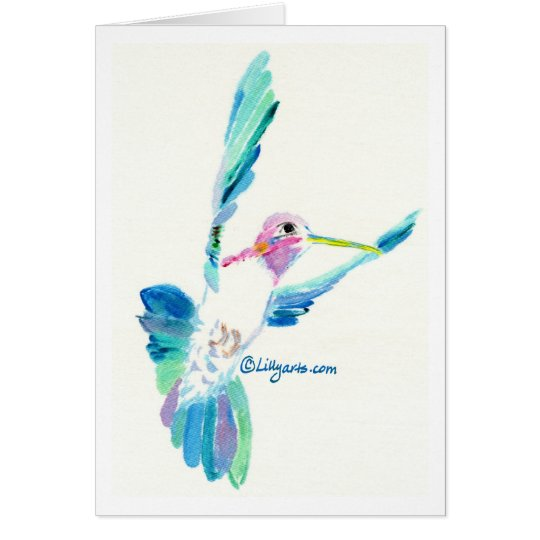Hummingbird Flight Fine Art Painting Card