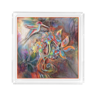 Hummingbird Flight Soft Pastels Art Acrylic Tray
