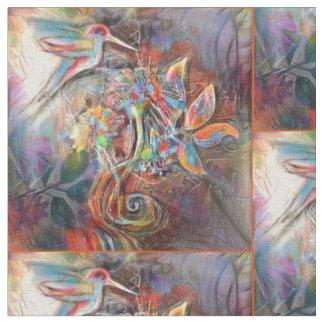 Hummingbird Flight Soft Pastels Art Fabric