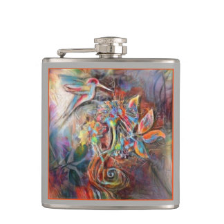 Hummingbird Flight Soft Pastels Art Hip Flask