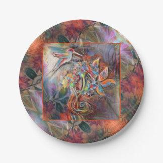 Hummingbird Flight Soft Pastels Art Paper Plate