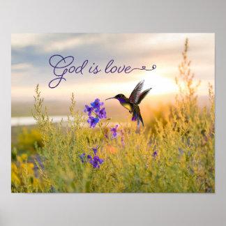 Hummingbird Flower Bible Verse God Is Love Poster