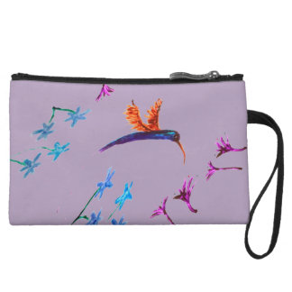 Hummingbird flowers Art Wristlet Clutch